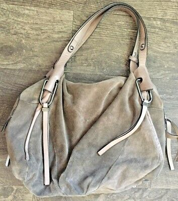 ABRO Large Suede & Leather Handbag Purse. Taupe Brown. Well made in Romania. for sale  Shipping to Canada