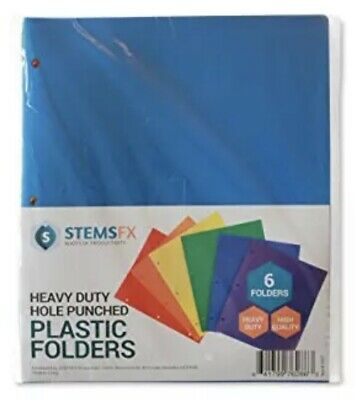 Heavy Duty Plastic 2 Pocket Folder 3 Hole Punched Pack Of 6 Folders Assorted