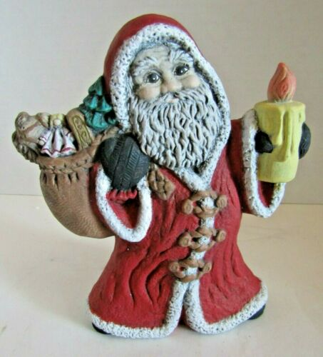 """Vintage 70s Ceramic Old World look Santa With Toy Sack & Candle Statue 6""""Tall"""