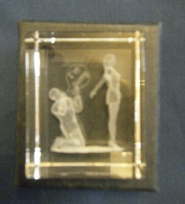 """New Boxed Perspex Paperweight Man & Woman """" Im Sorry """" apr 5x4x2cm Free P&P"""