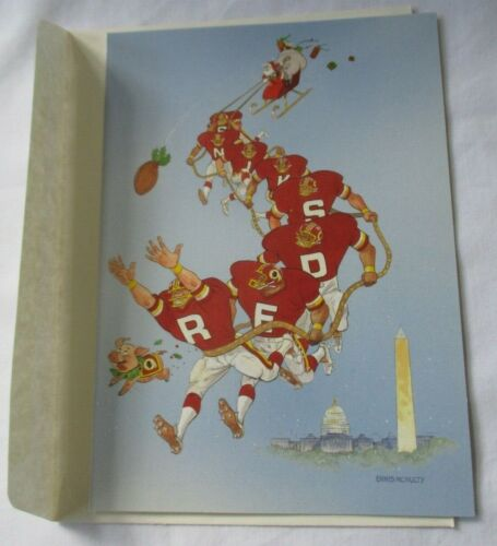 VINTAGE 1990 WASHINGTON REDSKINS NFL CHRISTMAS GREETING CARD - NEW