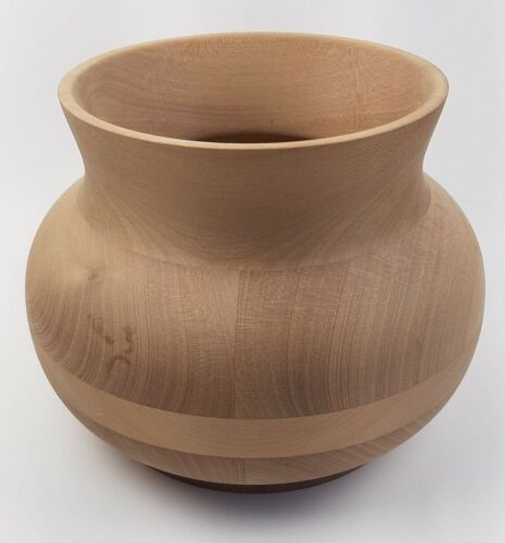 Handmade VTG Maple Wood Bowl Sculpted Wide Mouth Vase Canada Minimalist Decor