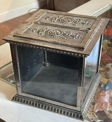 National Cash Register Check Box Antique Nickel Plate Iron. No Key