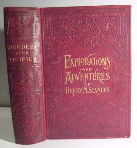 1889 leather AFRICA EXPLORERS STANLEY LIVINGSTONE BAKER+_BATTLES SAVAGES HUNTING