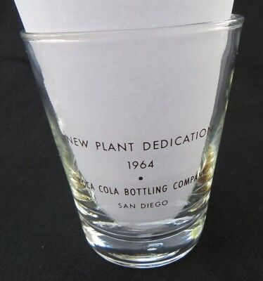 RARE Coca Cola Bottling Company Gold Glass San Diego 1964 New Plant Dedication