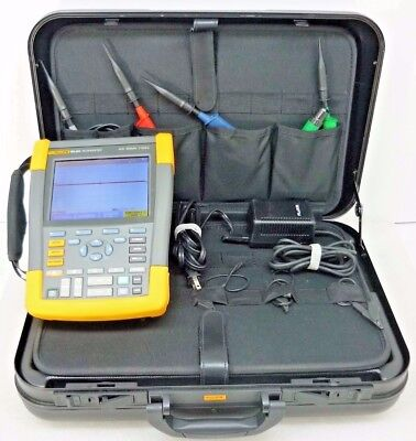 Fluke 190-204 4-channel Scopemeter 200mhz 2.5gss W Hard Case 4x Probes
