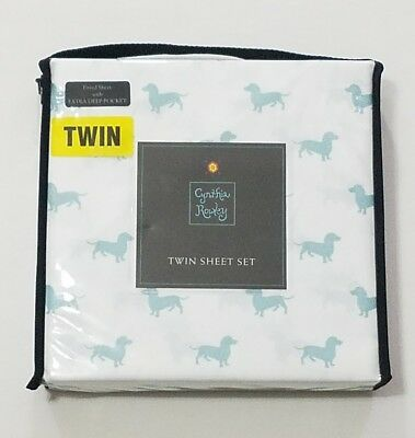 Cynthia Rowley Twin White with Blue DACHSHUND Dog Sheet Set & Pillowcase  NEW