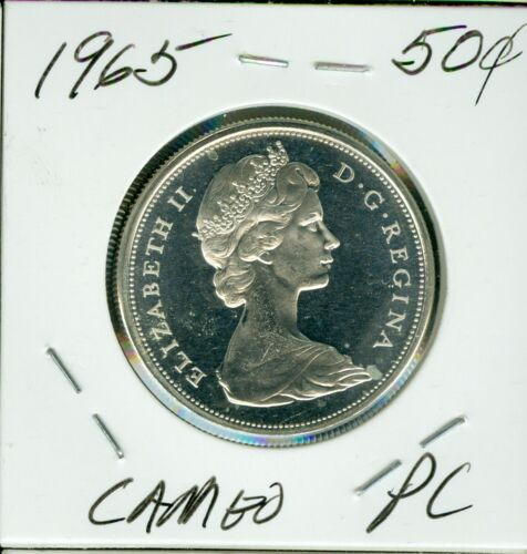 1965 CANADA SILVER 50 CENTS HIGH GRADE PL CAMEO