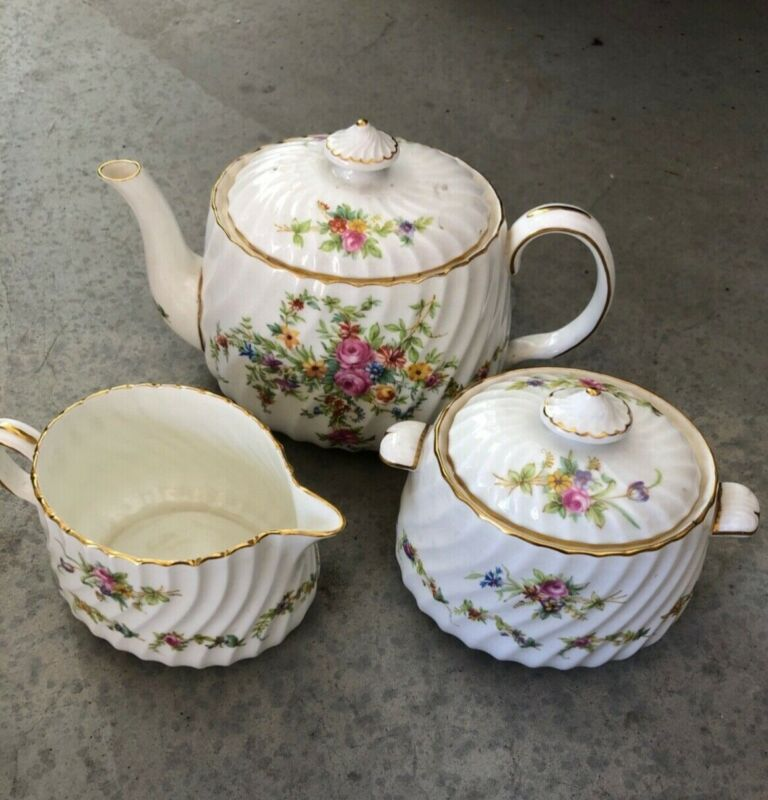 Minton Lorraine teapot with sugar and creamer