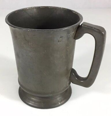 Antique Pewter Pint Measure Tankard. Inscribed To Base. 12.5cm In Height