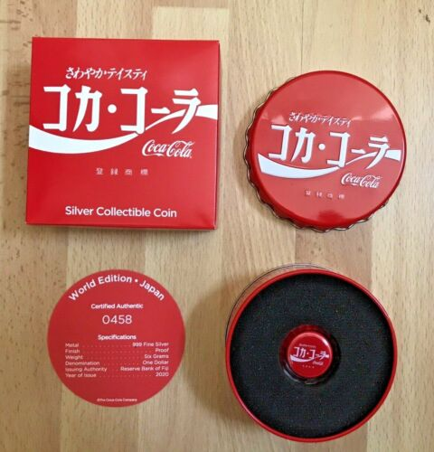 2020 Coca Cola Bottle Cap Fiji 6 Gram Silver JAPAN Global Edition #5 JAPANESE