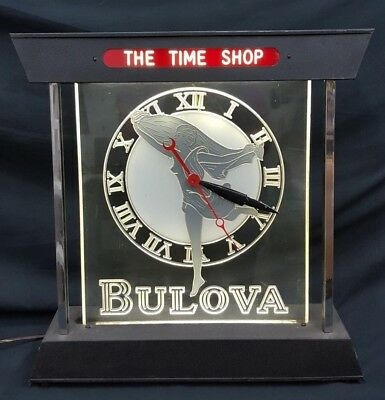 Vintage Tall Unique Bulova The Time Shop Electrical Wall or Ceiling Clock