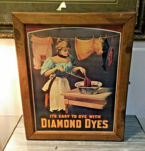 Diamond Dyes Wood Cabinet with Tin Litho Laundry Room Decor