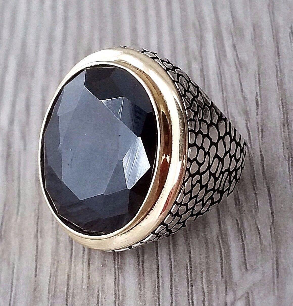 Turco otomano Negro Onyx piedras preciosas sólido 925 plata esterlina MENS anillo de piedras preciosas