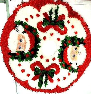 "Vintage Finished Latch Hook Hooked Tree Skirt Santa Christmas 36""Fun"