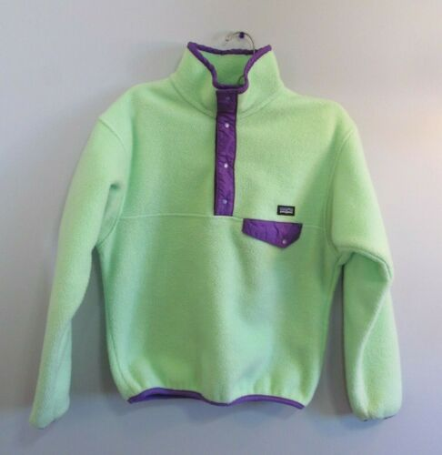 Girls PATAGONIA Synchilla SNAP-T Green Fleece Pullover Top Youth Large 12
