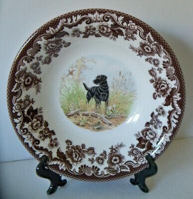 "Spode Woodland BLACK LAB dog 8"" Cereal Bowl 1st Quality NEW (No Box) Hunting"