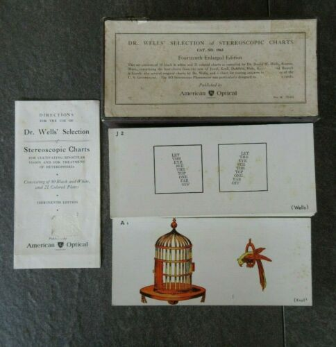 VINTAGE DR. WELLS BOX OF SELECTION OF STEREOSCOPIC CHARTS CARDS AMERICAN OPTICAL