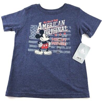Disney Store Boys Xtra Small Mickey Mouse Blue American Original Tee Shirt NWT