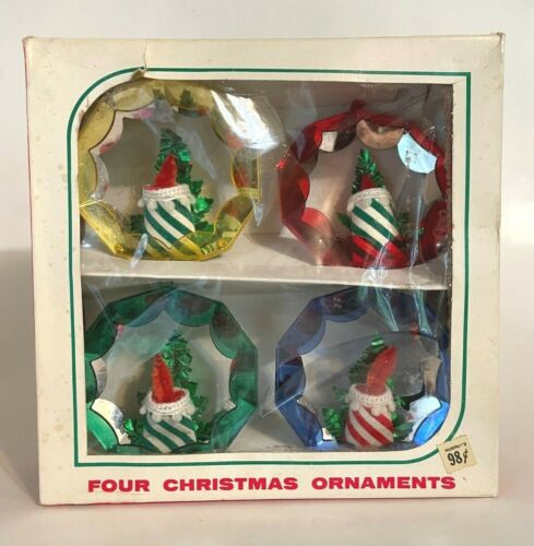 4 Vtg Jewelbrite Diorama Ornaments with Flocked Pipe Cleaner Candles w/ Box