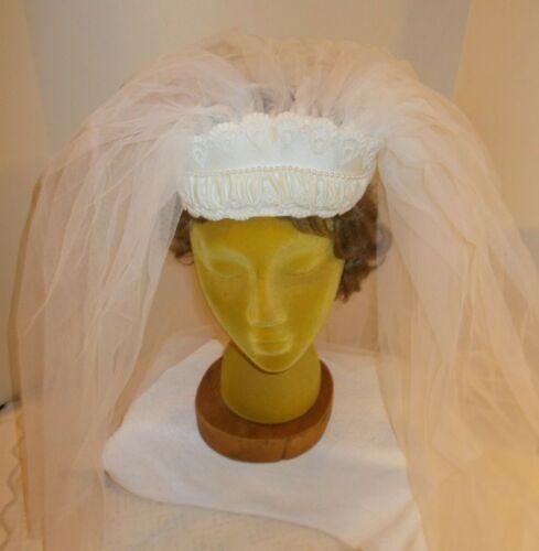 "Vintage Wedding Veil Pearl and Satin Head Band with 26"" Triple Veil"
