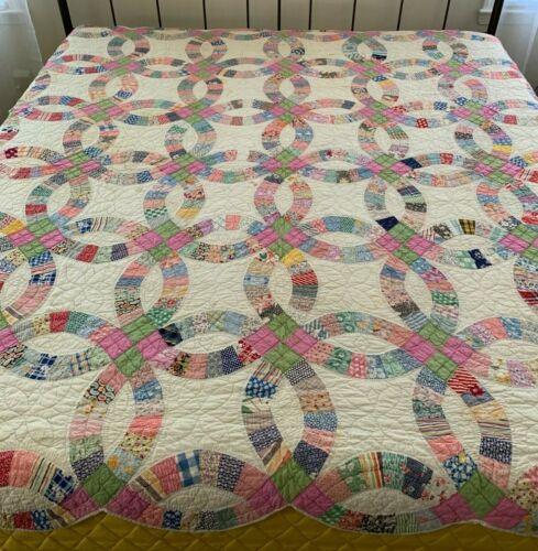 Vintage Feedsack Fabric Quilt Wedding Ring Bedspread Coverlet **PLEASE READ**