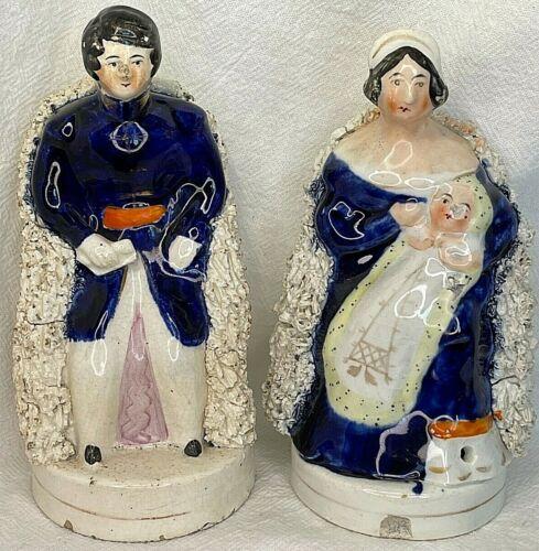Antique STAFFORDSHIRE Figurines - PRINCE ALBERT & QUEEN VICTORIA Holding BABY