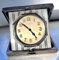 WALTHAM Elgin Clock Desk Travel Vintage ART DECO Sterling Silver Case WORKS