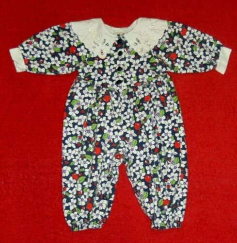 """Vintage """"BABY DIOR"""" (12 Months) Baby Girl Floral Romper With Lace Collar"""