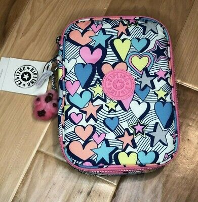 Kipling 100 Pens Pencil Case in Stardust Light Hearts Multi Brights  color Print