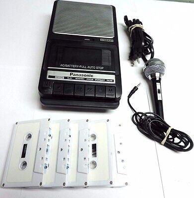 Panasonic Portable Cassette Recorder AC/DC Auto Stop Slim Line Microphone Tested