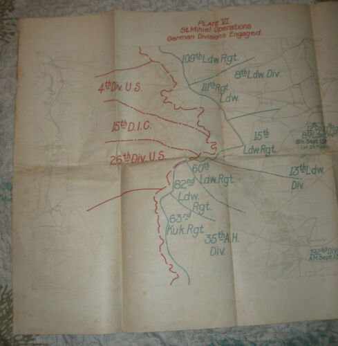 World War I fold up color printed map of Plate Vl St. Mihiel Operations 1919