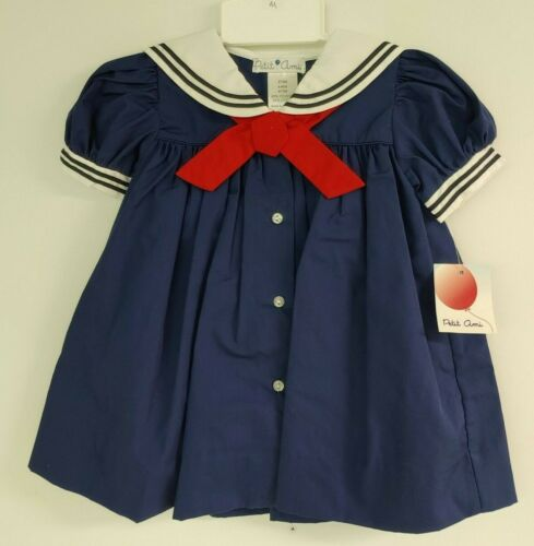 Petit Am 2 pc Sailor Dress & Bloomers Short Slv Navy White Red 6 month #1566