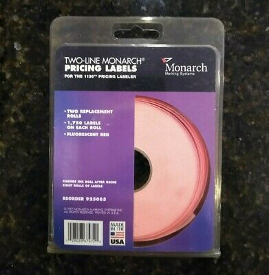 Two-line Monarch Pricing Labels For 1136 Pricing Labeler 1750 Per Roll New Pkg