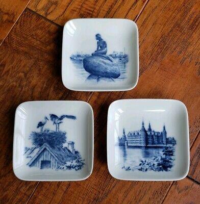 - A. Royal Copenhagen Little Mermaid Castle Egret Small Square Dishes Denmark 2985