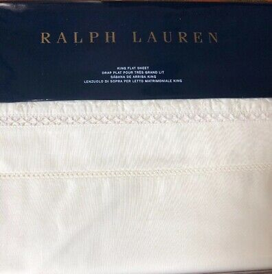 RALPH LAUREN Half Moon Bay KING FLAT SHEET Embroidered CREAM Nadiya NWT King Embroidered Flat Sheet
