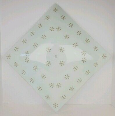 Vintage Square White Frosted Glass Textured Daisy Pattern Ceiling Fixture Shade