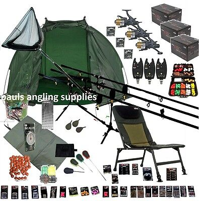 3 Rod Mega Carp Fishing Set Up Kit Rods Reels Chair GIANT TACKLE PACK Net Bait