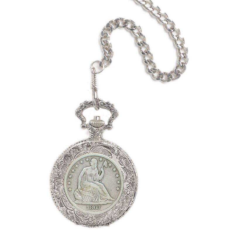 NEW Seated Liberty Silver Half Dollar Coin Pocket Watch 11452
