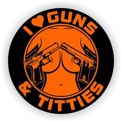 I Love Guns And Titties Funny Sexy Hard Hat Sticker Motorcycle Helmet Decal Usa