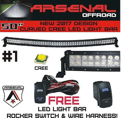 2017 50 inch Curved 288W CREE LED Light Bar by Arsenal Offroad TM spot flood com