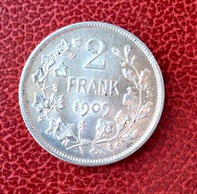 Belgique - Magnifique monnaie de 2 Francs 1909  VL