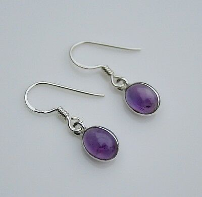 HANDCRAFTED STERLING SILVER 8MM X 6MM AMETHYST SMALL OVAL DROP EARRINGS