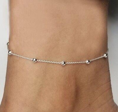 Sterling Silver 925 Anklet, Rolo Bead Adjustable Anklet 9