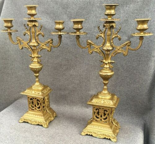 Large antique pair of french Napoleon III chandeliers gilded bronze 19th century