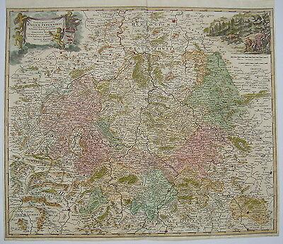 Hessen Kassel Marburg Fritzlar Wildungen   Kupferstich Landkarte Homann 1720