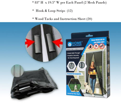 """83""""H x 39""""W Magic Mesh Hands-Free Screen Door magnets KEEP BUGS OUT"""