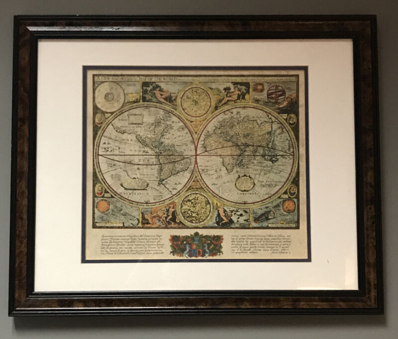 A New And Accvrat Map Of The World - Framed -