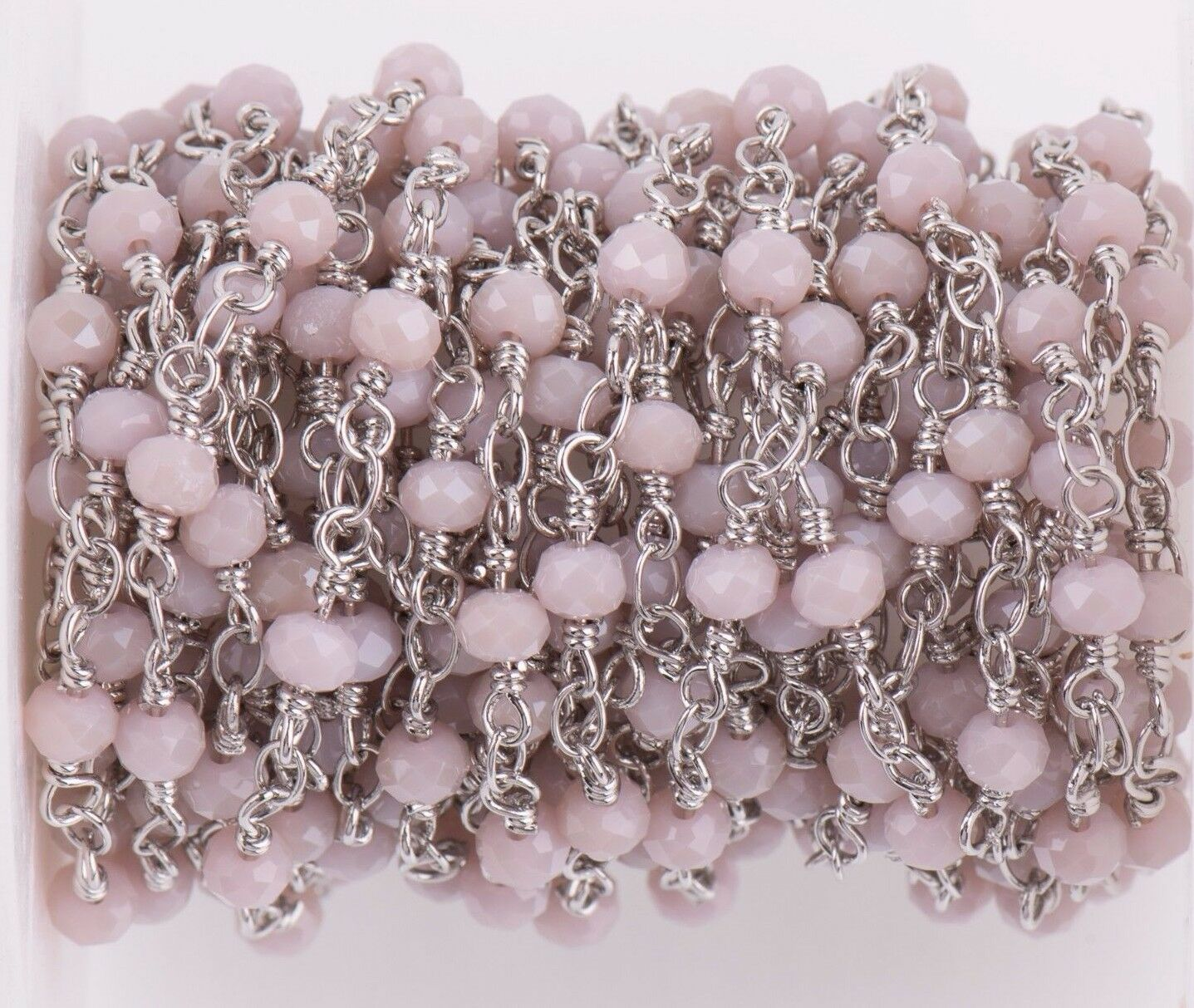 5 Yd Blush Crystal Rosary Bead Chain, Silver Double Wrap,...