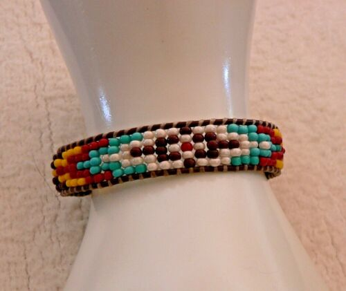 Native American Inspired Wrap Beaded on Leather Seed Bead Bracelet